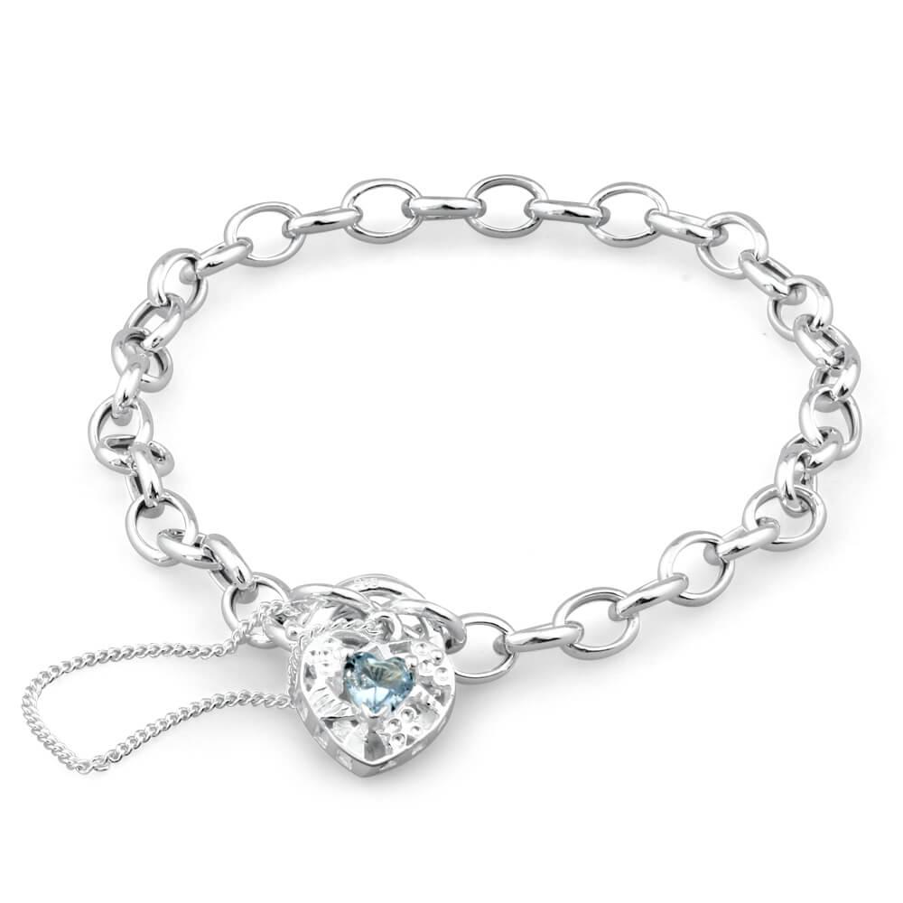 Sterling Silver Blue Cubic Zirconia Belcher Padlock Bracelet 19cm