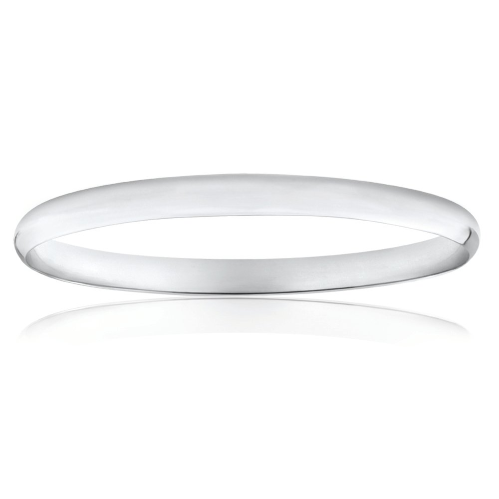 Solid Sterling Silver Plain 6mm Golf 65mm Bangle