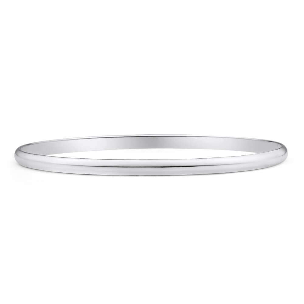 Solid Sterling Silver 4mm Plain 70mm Bangle