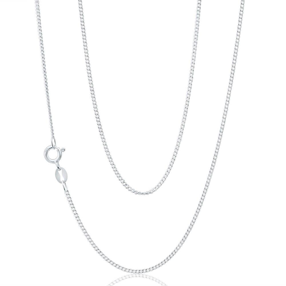 Sterling Silver Curb Dicut 40 Gauge 45cm Chain