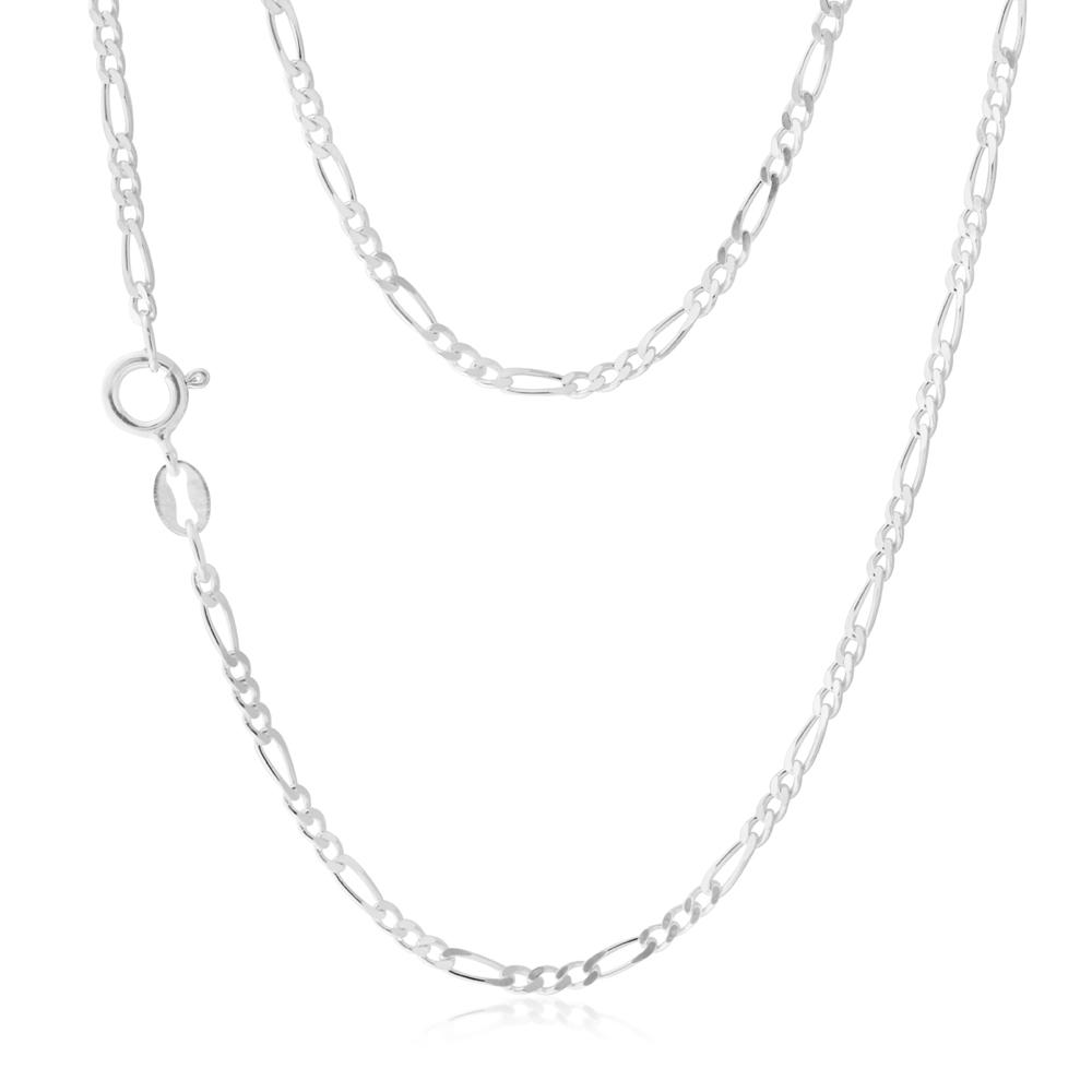 Sterling Silver Figaro 40cm Chain