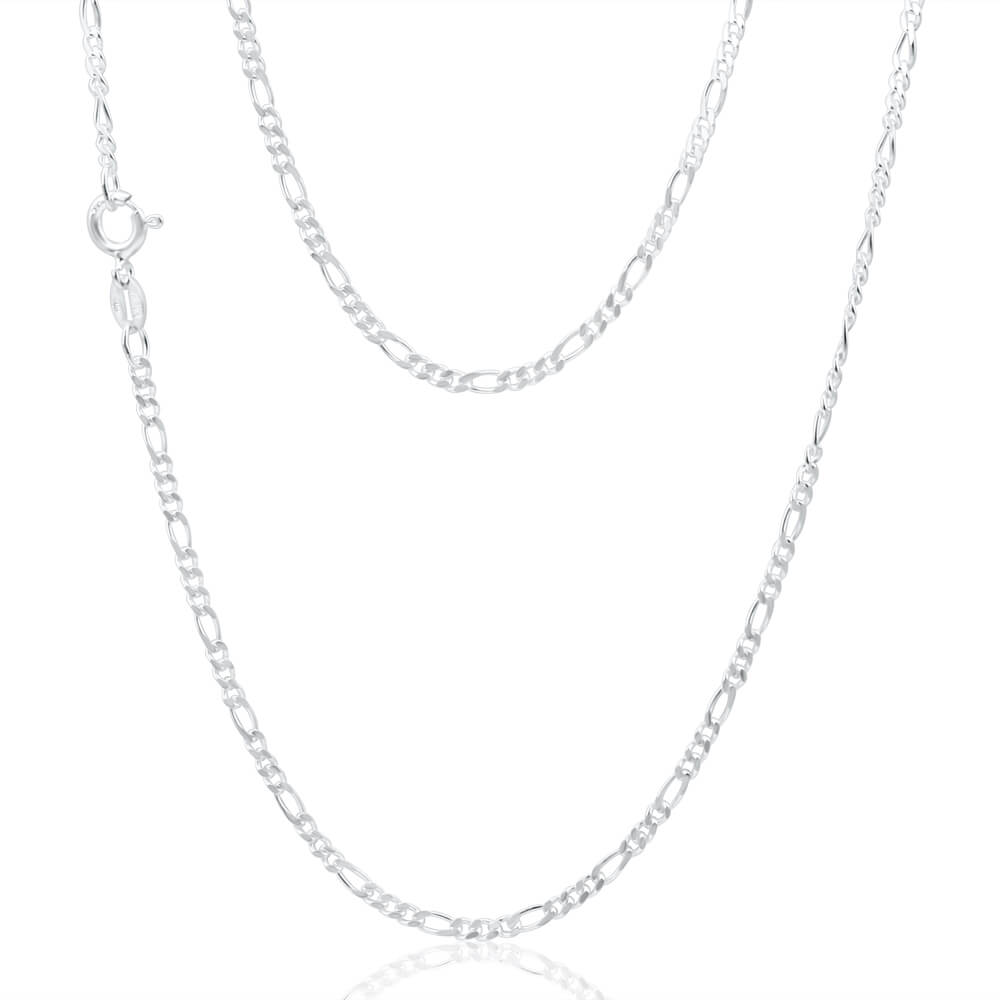 Sterling Silver Figaro 50cm Chain