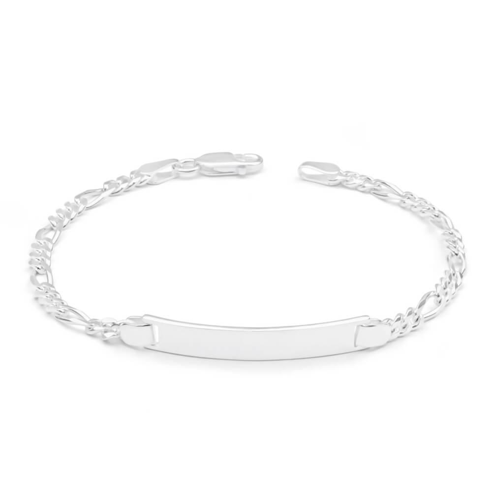 Sterling Silver Figaro 1-3 ID Bracelet in 19cm