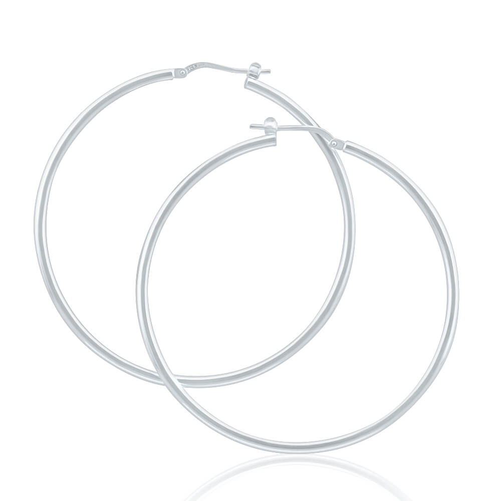 Sterling Silver 50mm Plain Thin Hoop Earrings