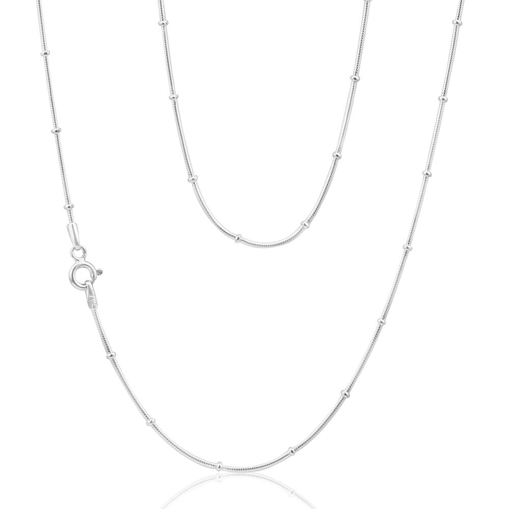 Sterling Silver 45cm Ball Station Snake Chain