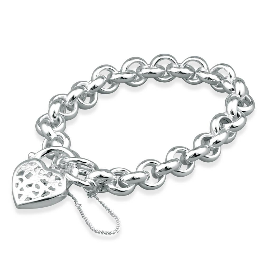 Sterling Silver Hollow Belcher Filigree Heart Padlock Bracelet