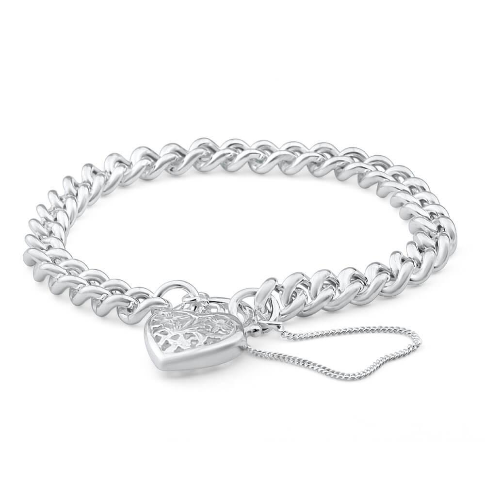 Sterling Silver Curb Filigree Heart Bracelet
