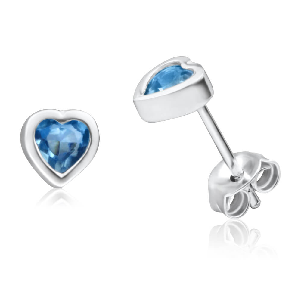 Sterling Silver Blue Cubic Zirconia Heart Stud Earrings