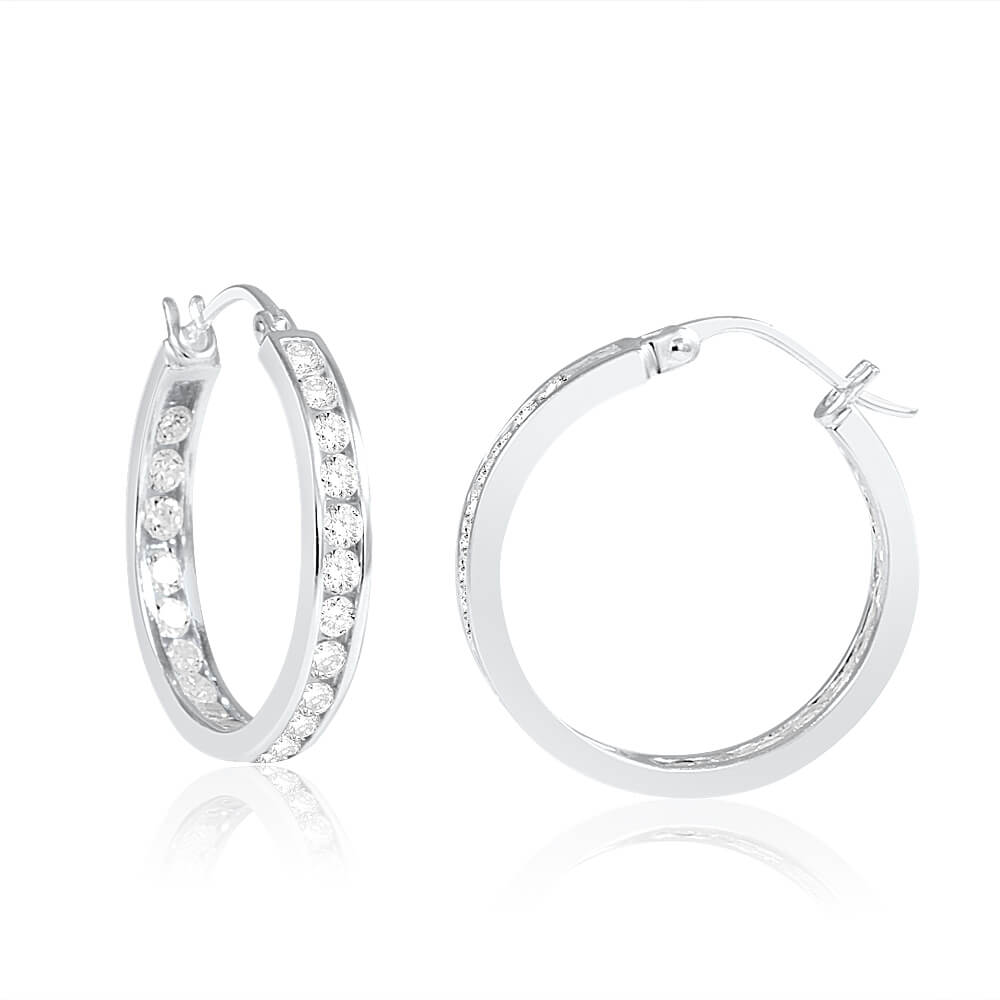 Sterling Silver Cubic Zirconia 18mm Hoop Earrings