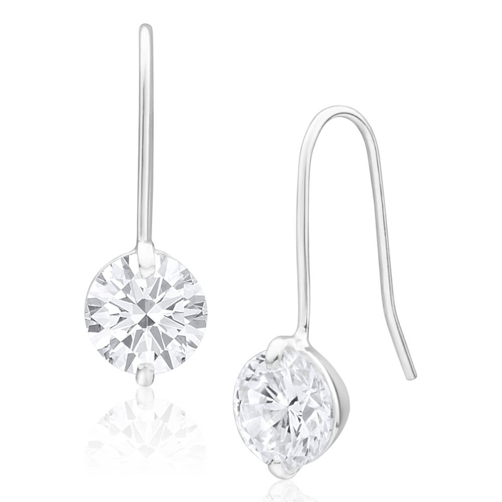 Sterling Silver 8mm Brilliant Cut Cubic Zirconia Drop Earrings