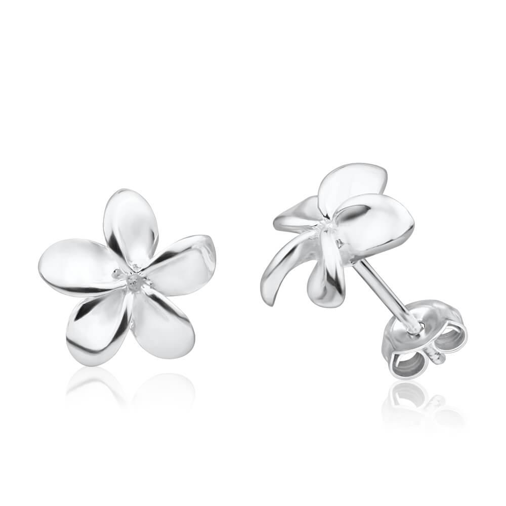 Sterling Silver Frangipani Stud Earrings