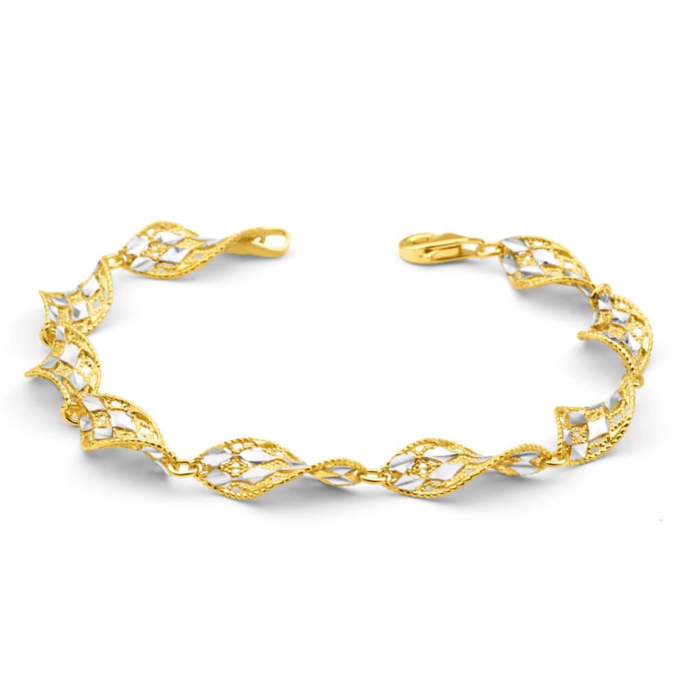 Gold Plated Sterling Silver Fancy Twist Link 19cm Bracelet