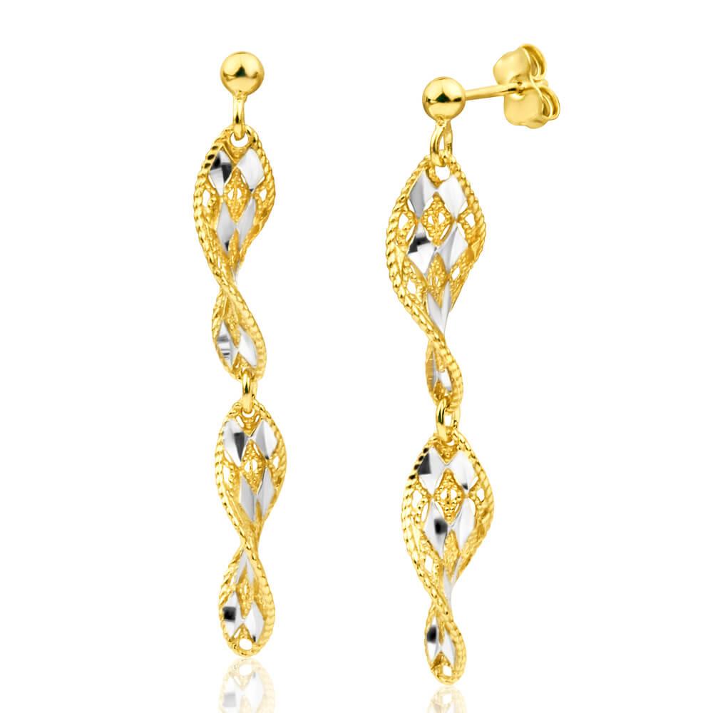 Gold Plated Sterling Silver Drop Twist Drop Earrings