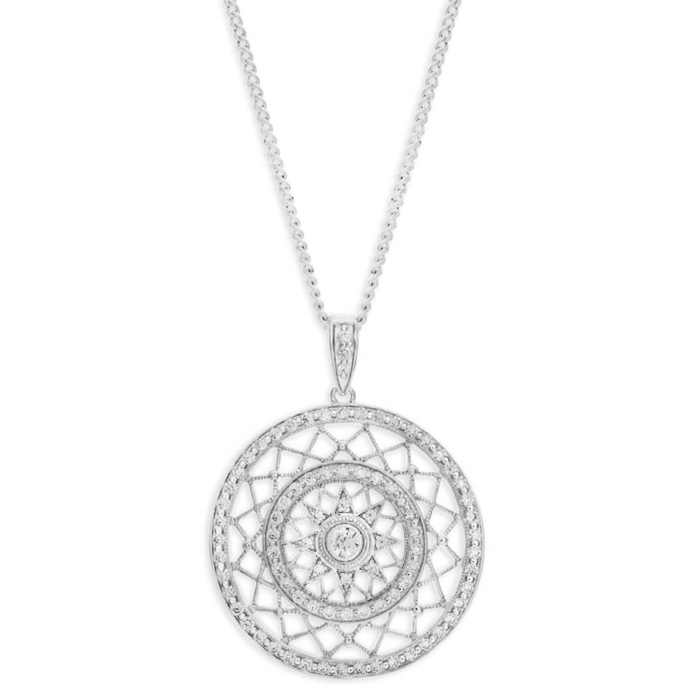 Sterling Silver Cubic Zirconia Round Fancy 25mm Pendant