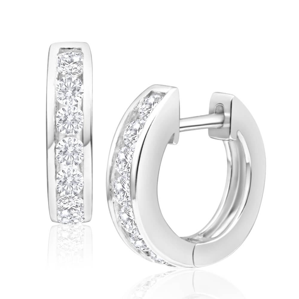Sterling Silver Zirconia Huggies Hoop Earrings
