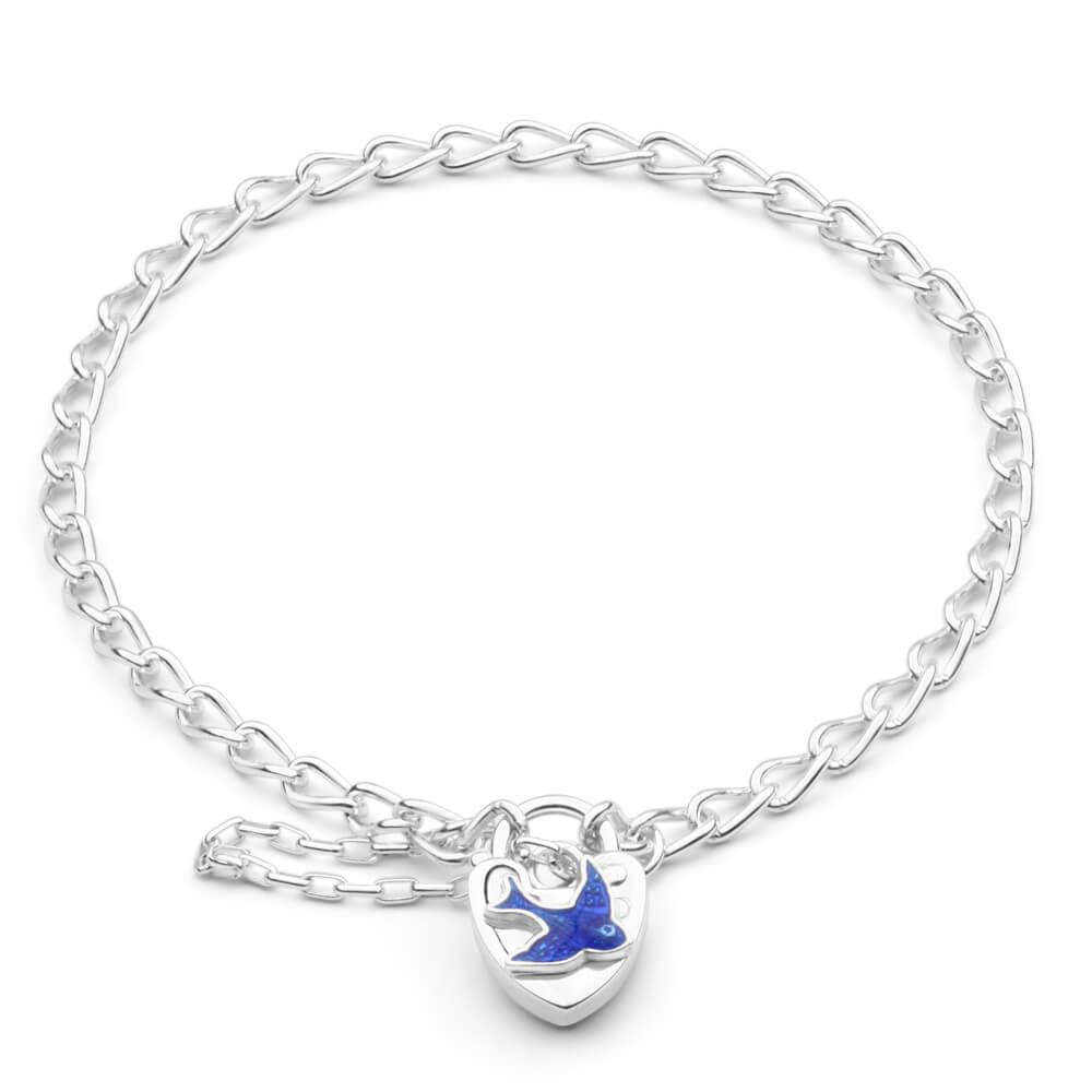 Sterling Silver Bluebird Curb Padlock Bracelet 16cm