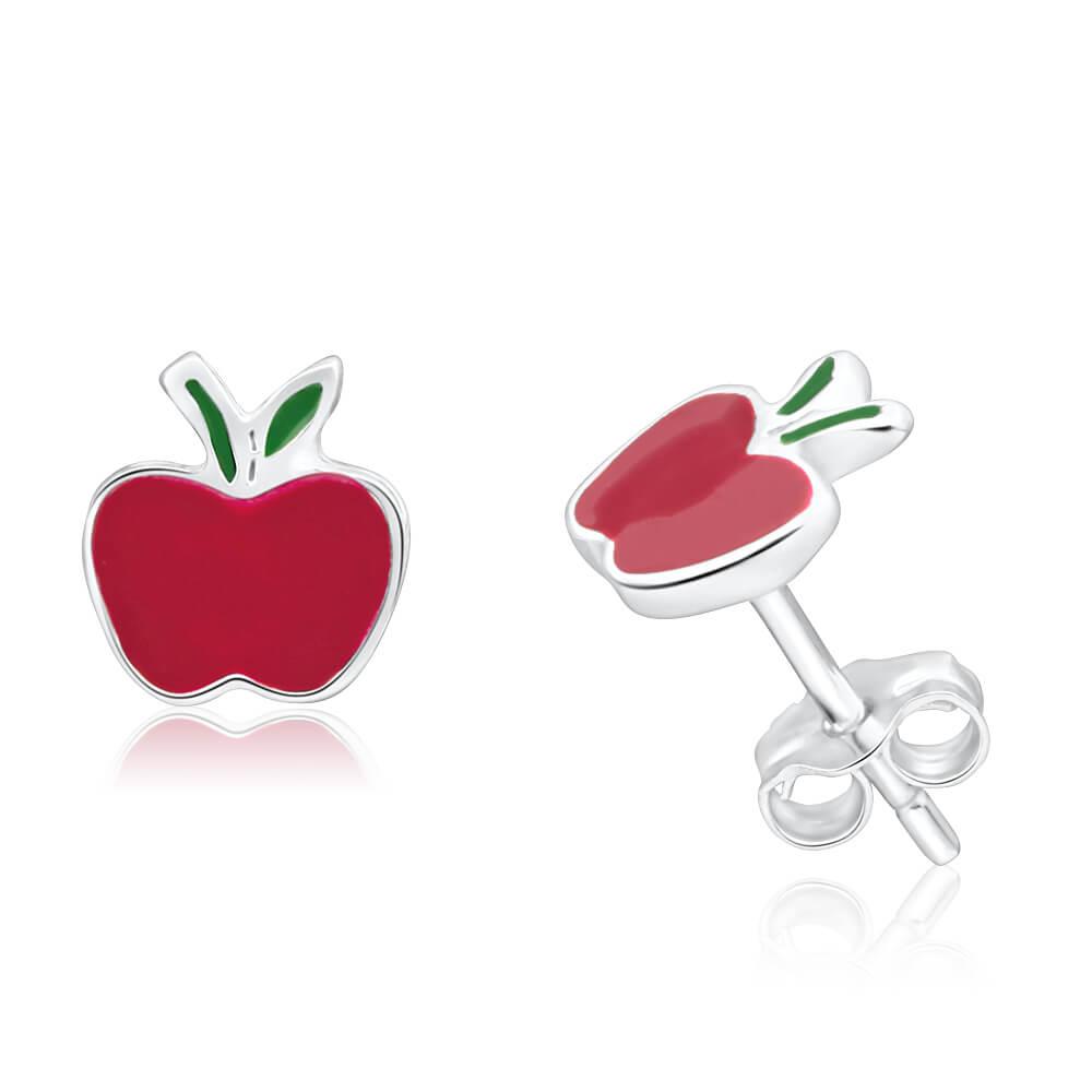 Sterling Silver Enamel Apple Stud Earrings