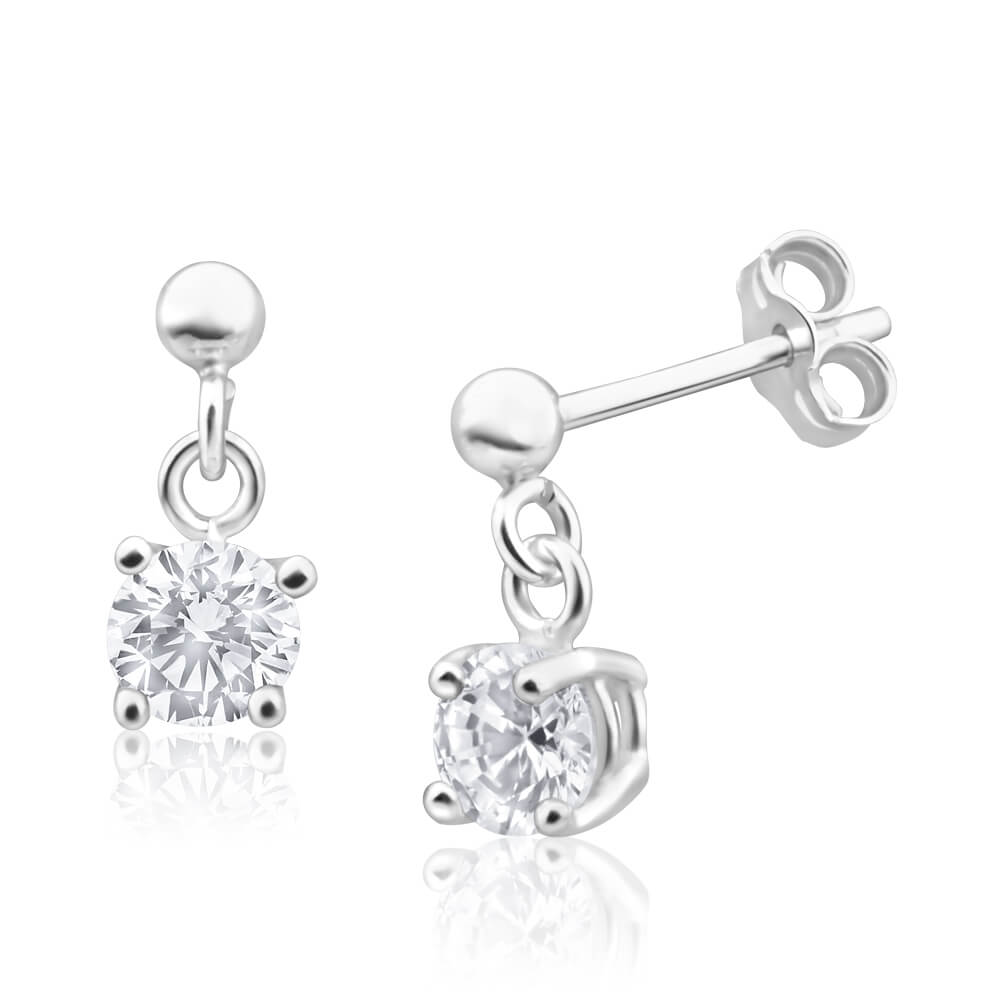 Sterling Silver Zirconia 5mm Claw Drop Earrings
