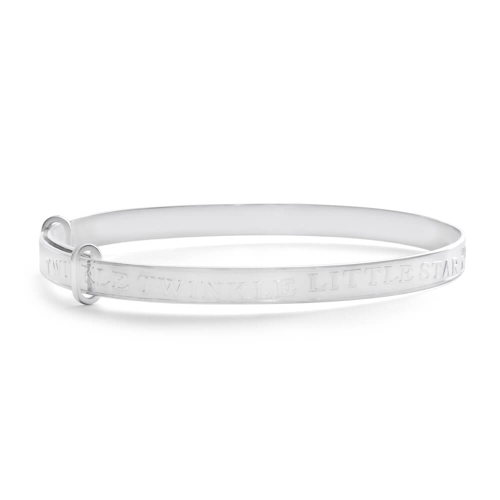 Sterling Silver Twinkle Twinkle Little Star Expandable 45mm Baby Bangle
