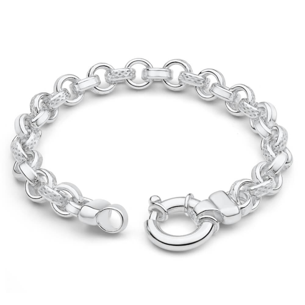 Sterling Silver BelcherPlain Link Boltring 21cm Bracelet