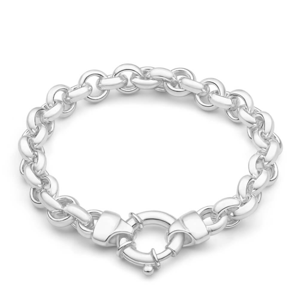 Sterling Silver Hollow Belcher Boltring 20cm Bracelet