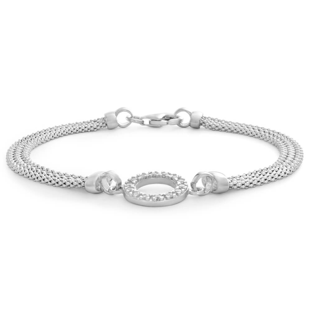 Sterling Silver Cubic Zirconia Multi Strand Mesh Bracelet