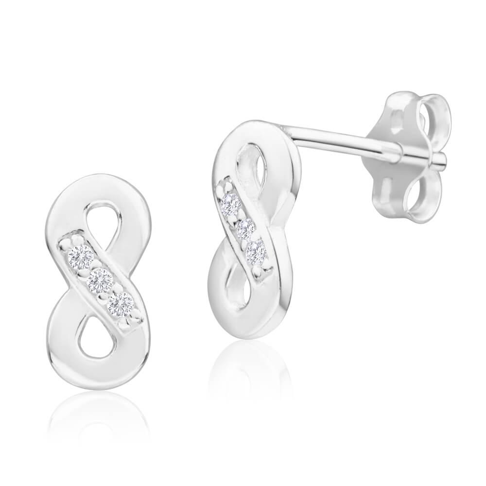 Sterling Silver Cubic Zirconia Infinity Stud Earrings