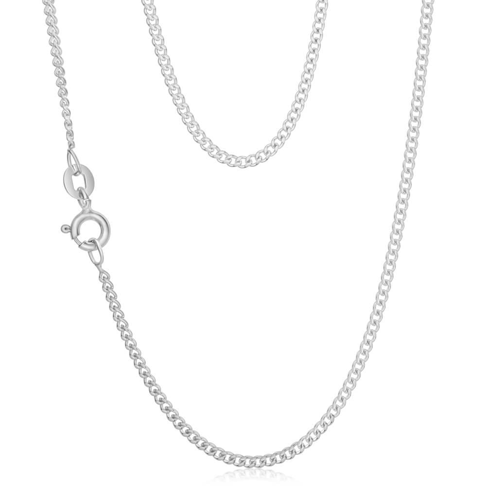 Sterling Silver Curb Dicut 40cm Chain