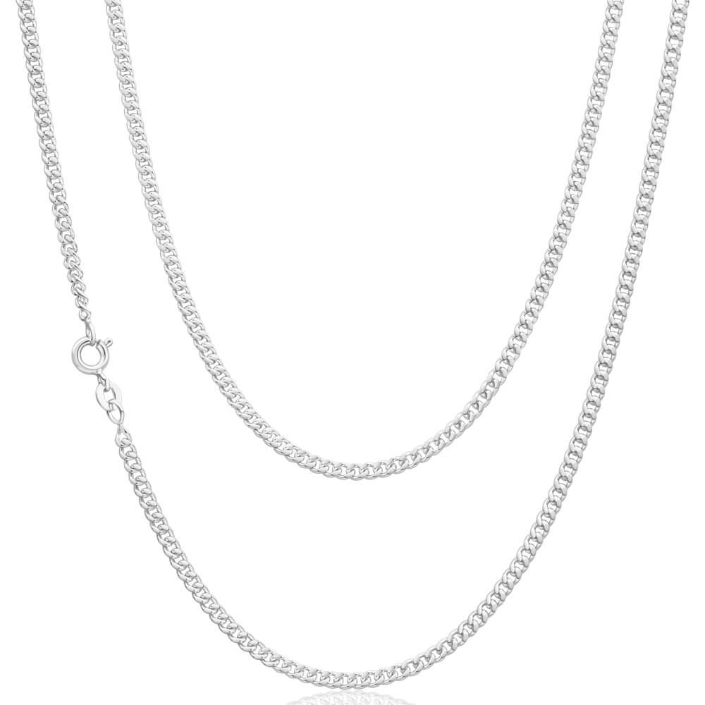 Sterling Silver 80 Gauge Diamond Cut 55cm Curb Chain