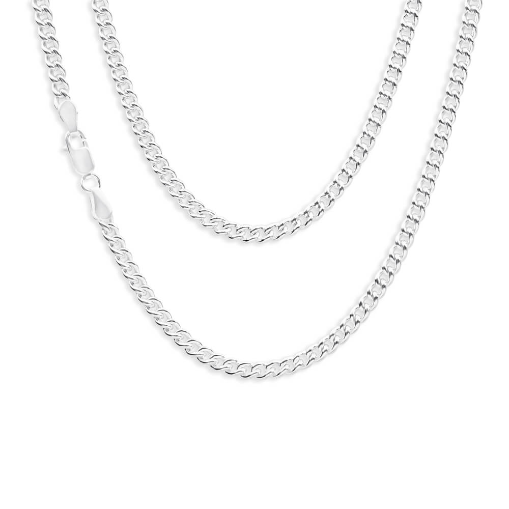 Sterling Silver Curb 100 Gauge 45cm Chain