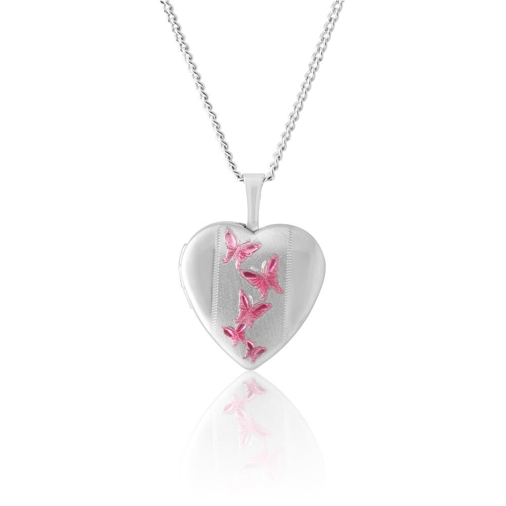 Sterling Silver Pink Butterfly Heart Locket