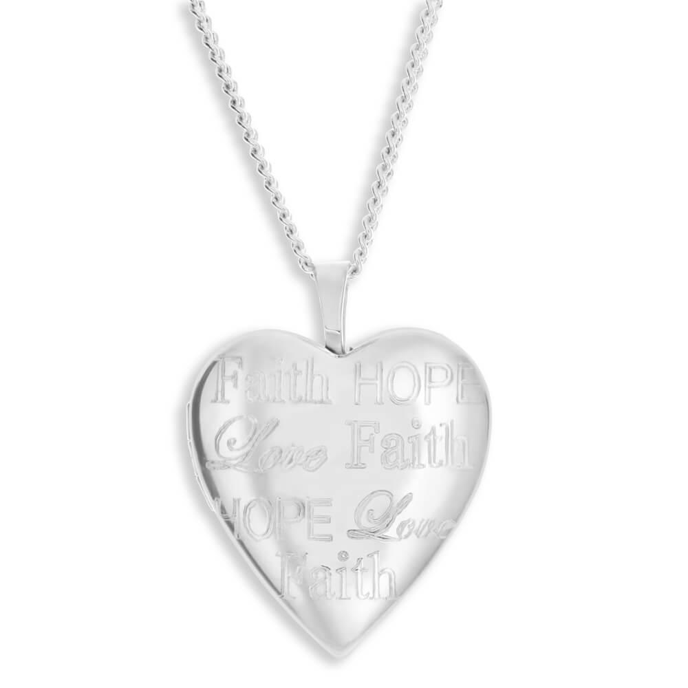 "Sterling Silver Heart Shape ""Faith Hope Love"" Engraved Locket"