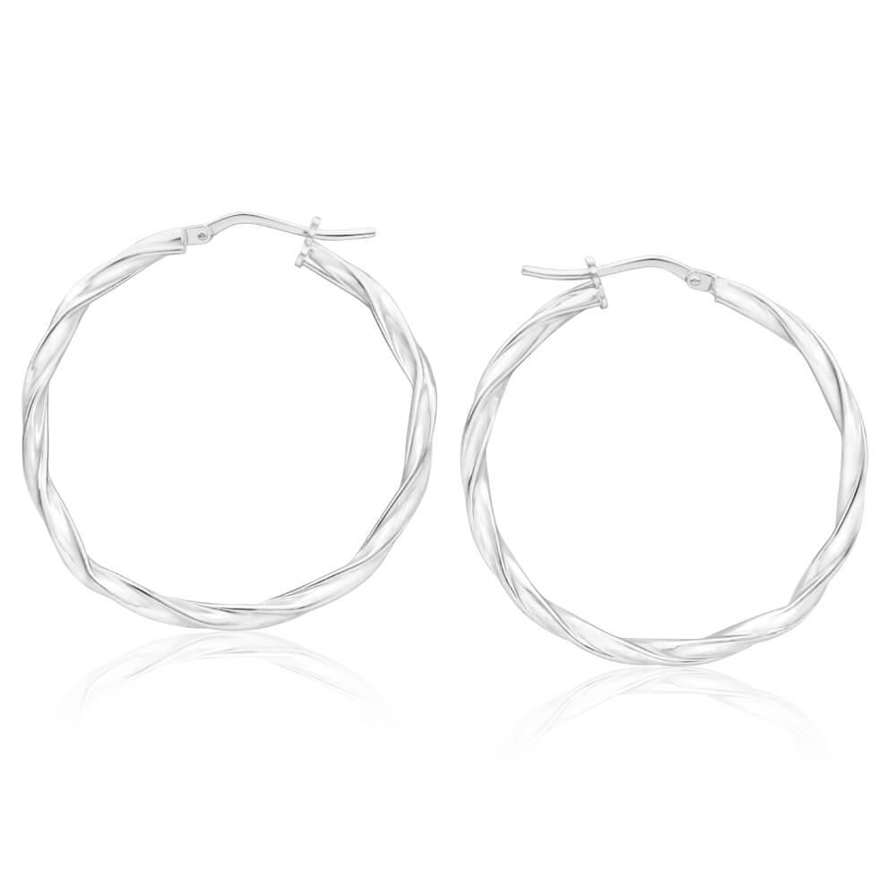 Sterling Silver 30mm Twisted Hoop Earrings
