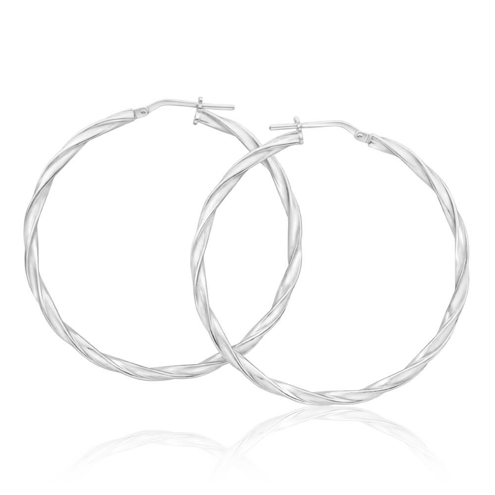Sterling Silver 40mm Twisted Hoop Earrings