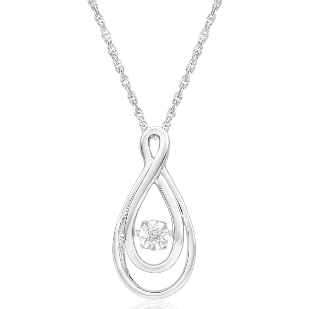 Sterling Silver Star Diamond Pendant on chain