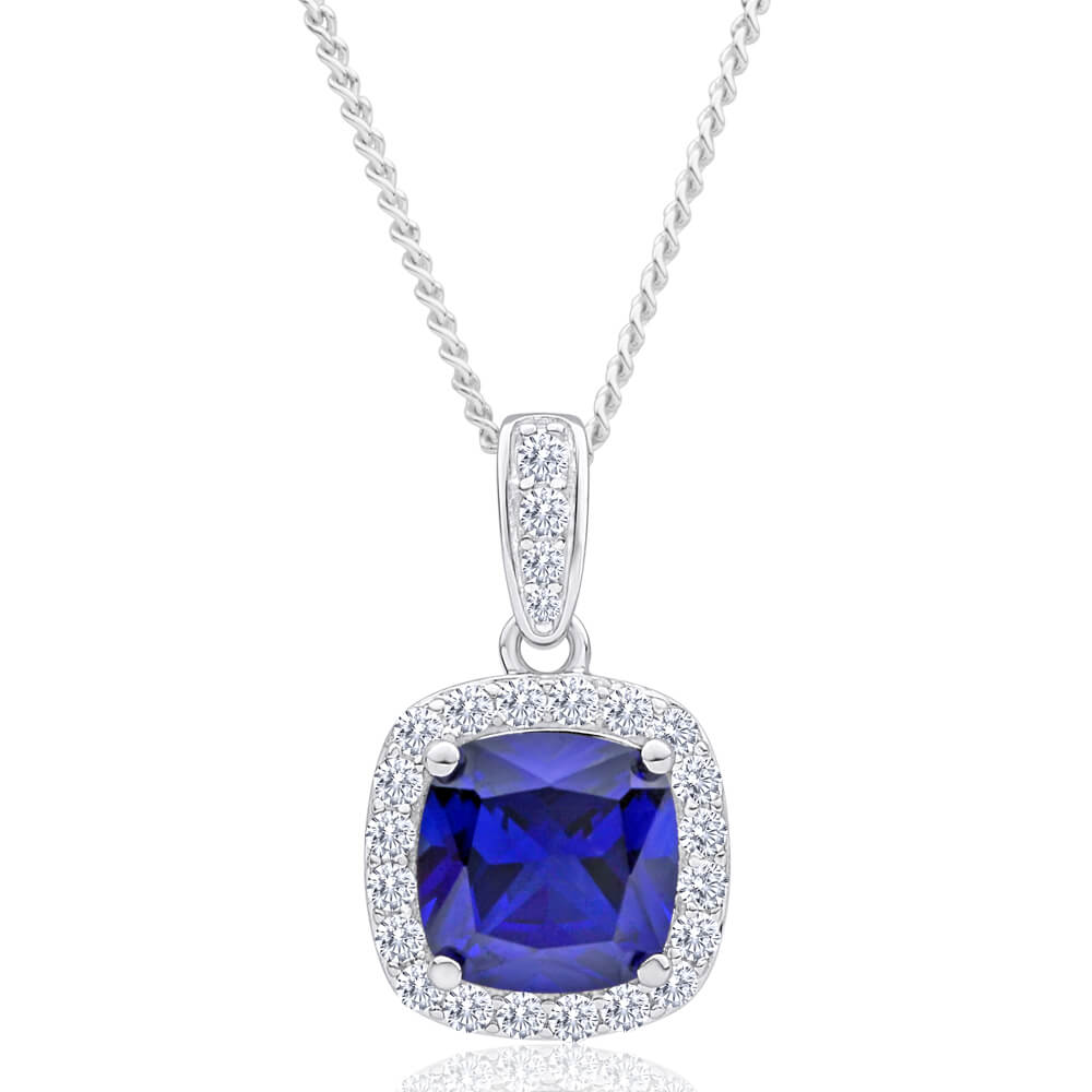 Sterling Silver Rhodium Plated Created Sapphire + Cubic Zirconia Pendant