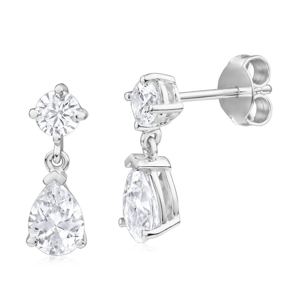 Sterling Silver Zirconia Round Stud and Pear Drop Earrings