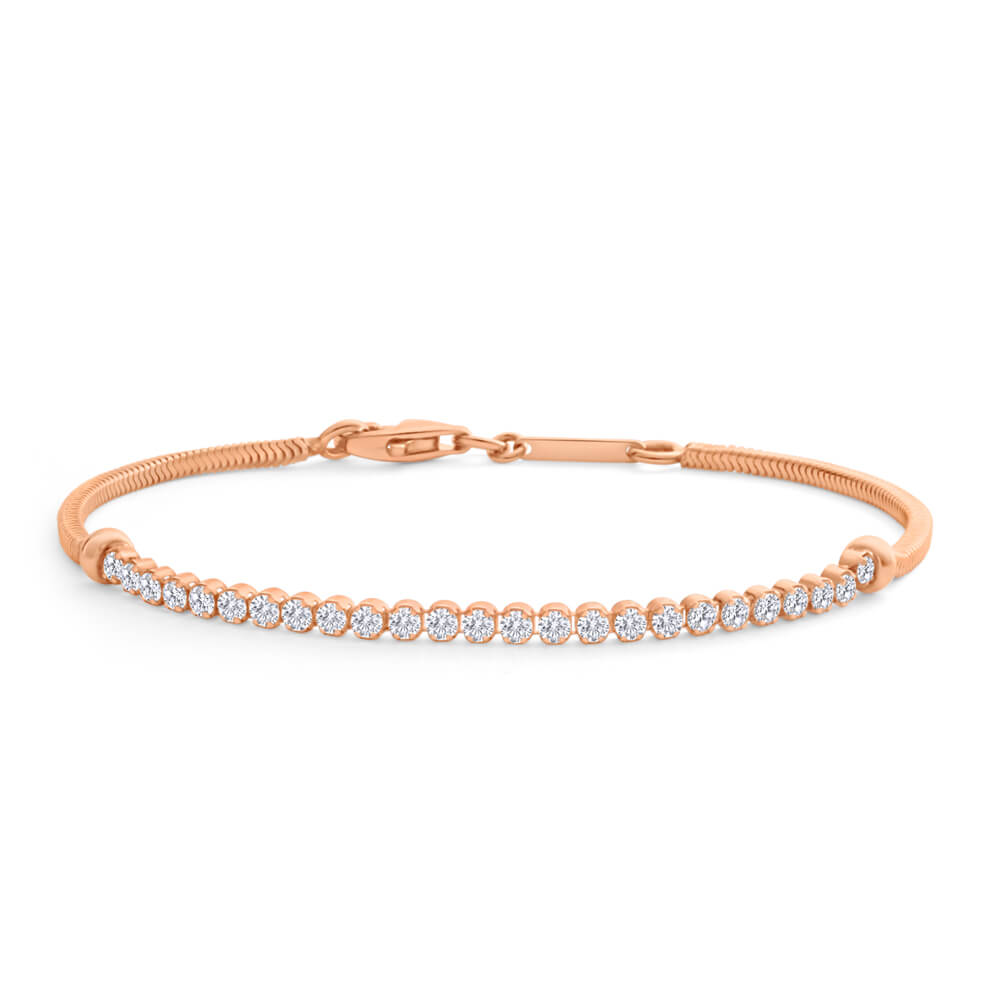 Gold Plated Sterling Silver Cubic Zirconia 18cm Bracelet