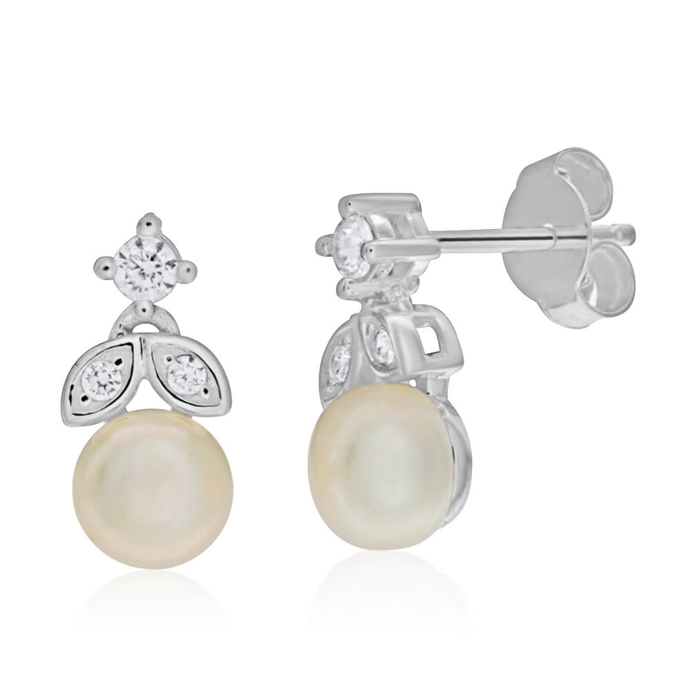 Sterling Silver Freshwater Pearl and Zirconia Stud Earrings