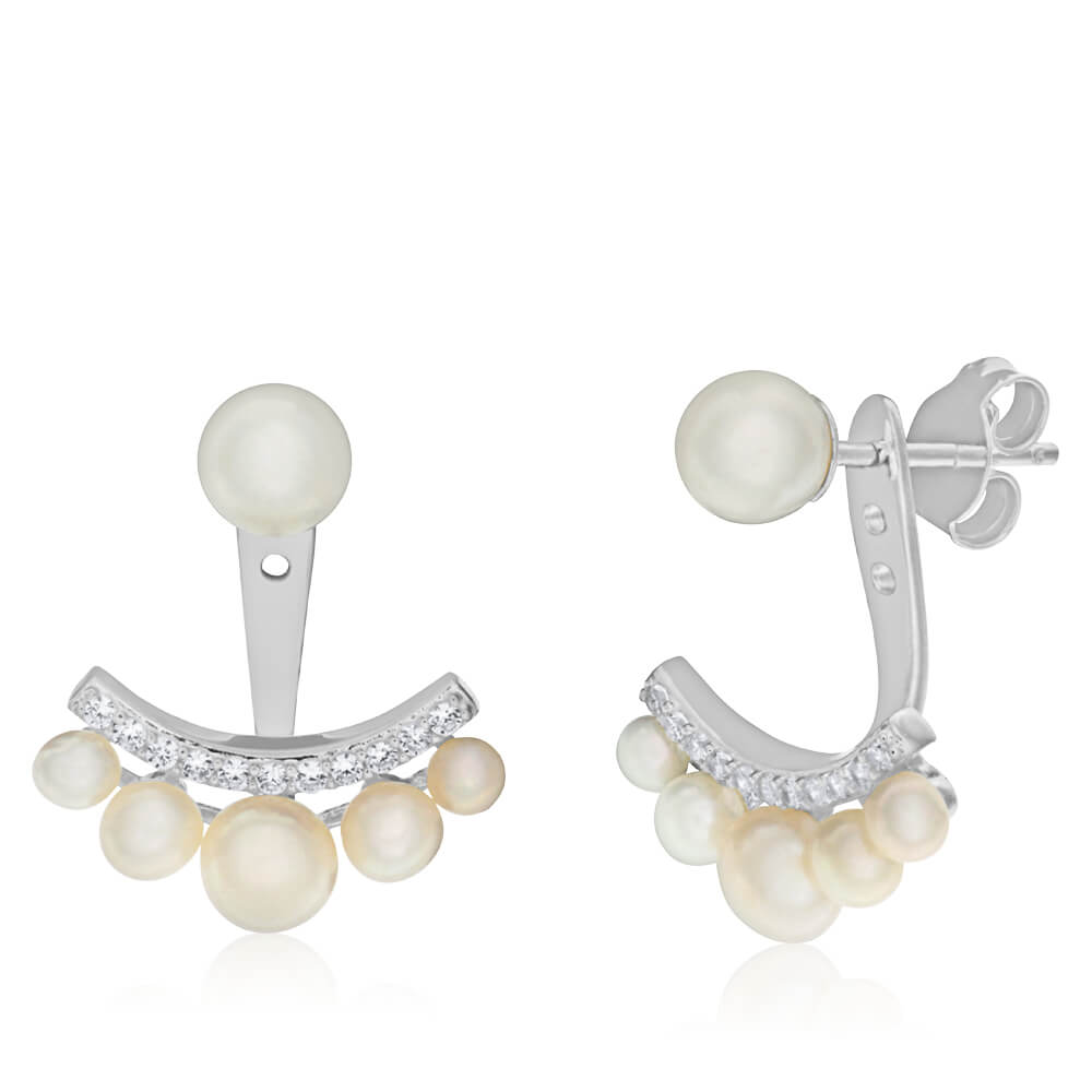 Sterling Silver Freshwater Pearl and Cubic Zirconia Ear Jacket Stud Earrings