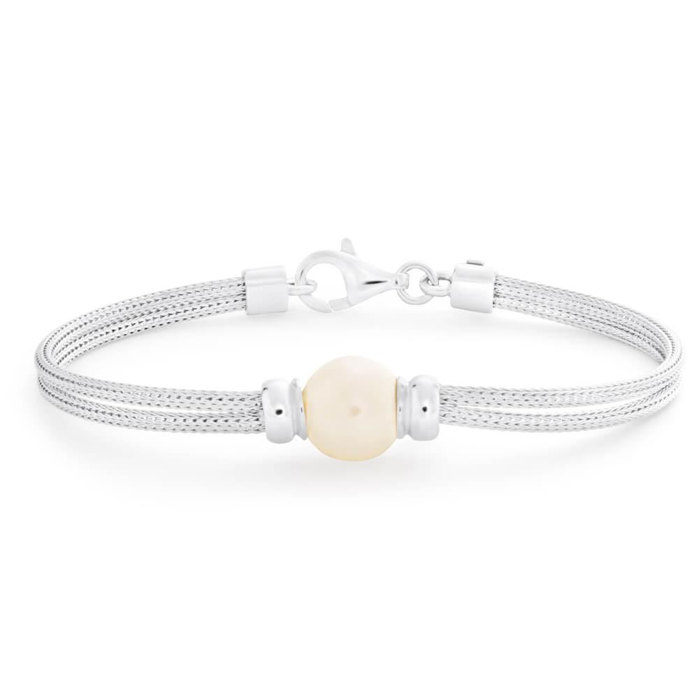 Sterling Silver Simulated Pearl Fancy Mesh Bracelet 19cm