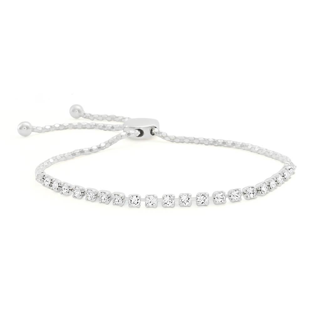 Sterling Silver Cubic Zirconia Adjustable Friendship Bracelet