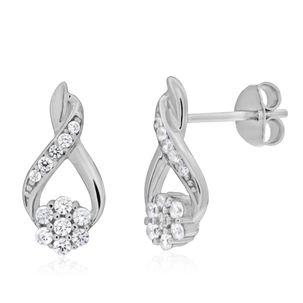 Sterling Silver Rhodium Plated Cubic Zirconia Pear Shaped Stud Earrings