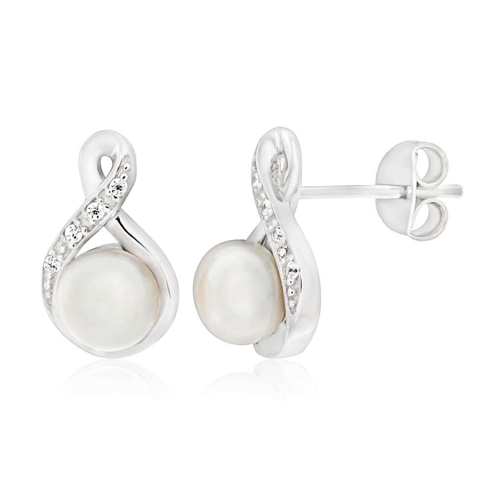 Sterling Silver Rhodium Plated Freshwater Pearl and Cubic Zirconia Stud Earrings