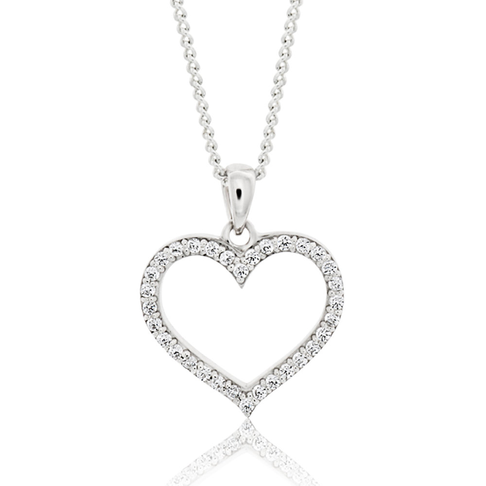 Sterling Silver Rhodium Plated Cubic Zirconia Open Heart Pendant