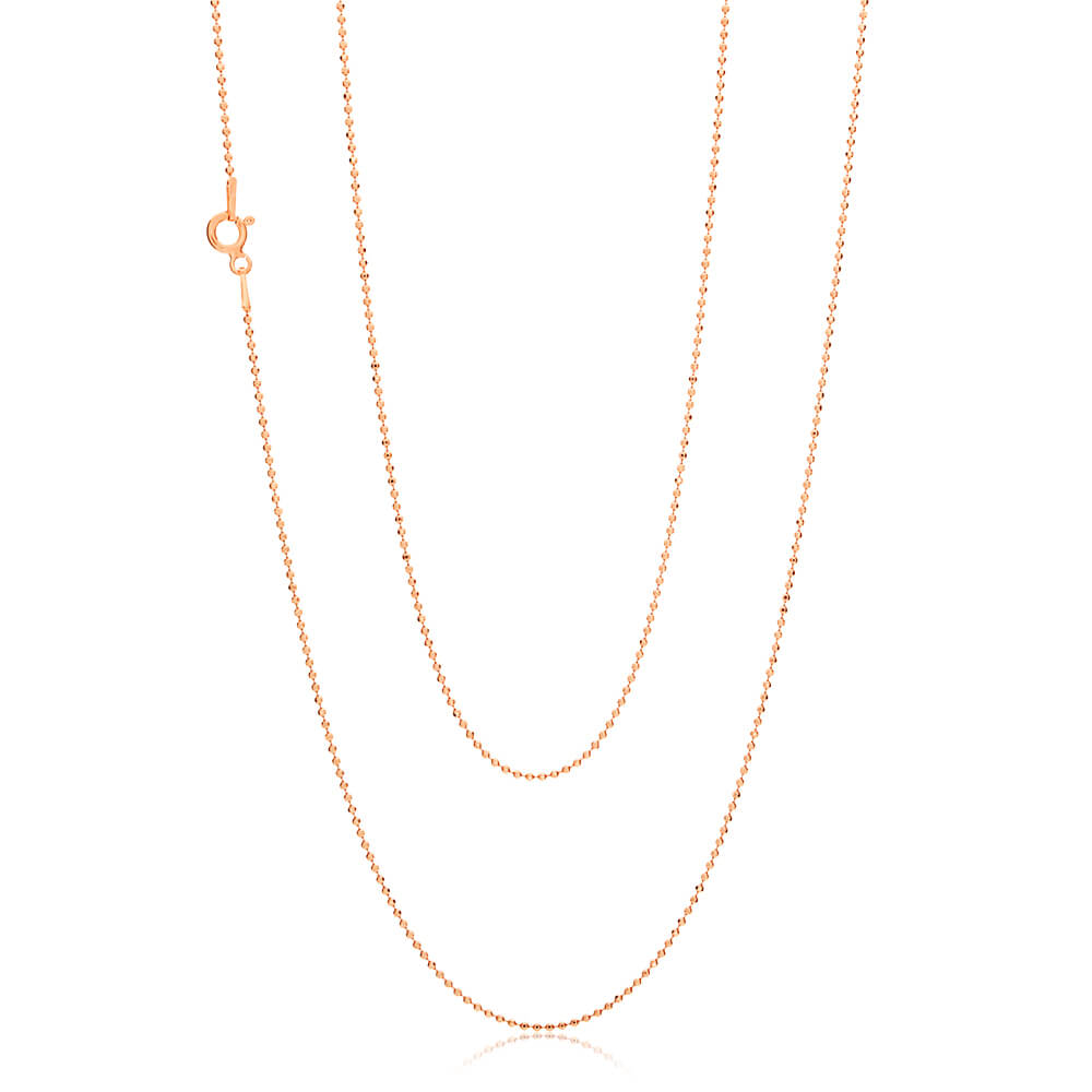 Rose Gold Plated Sterling Silver Ball Chain