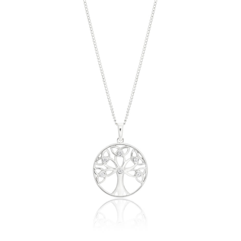 Sterling Silver Rhodium Plated Cubic Zirconia Tree Of Life Pendant