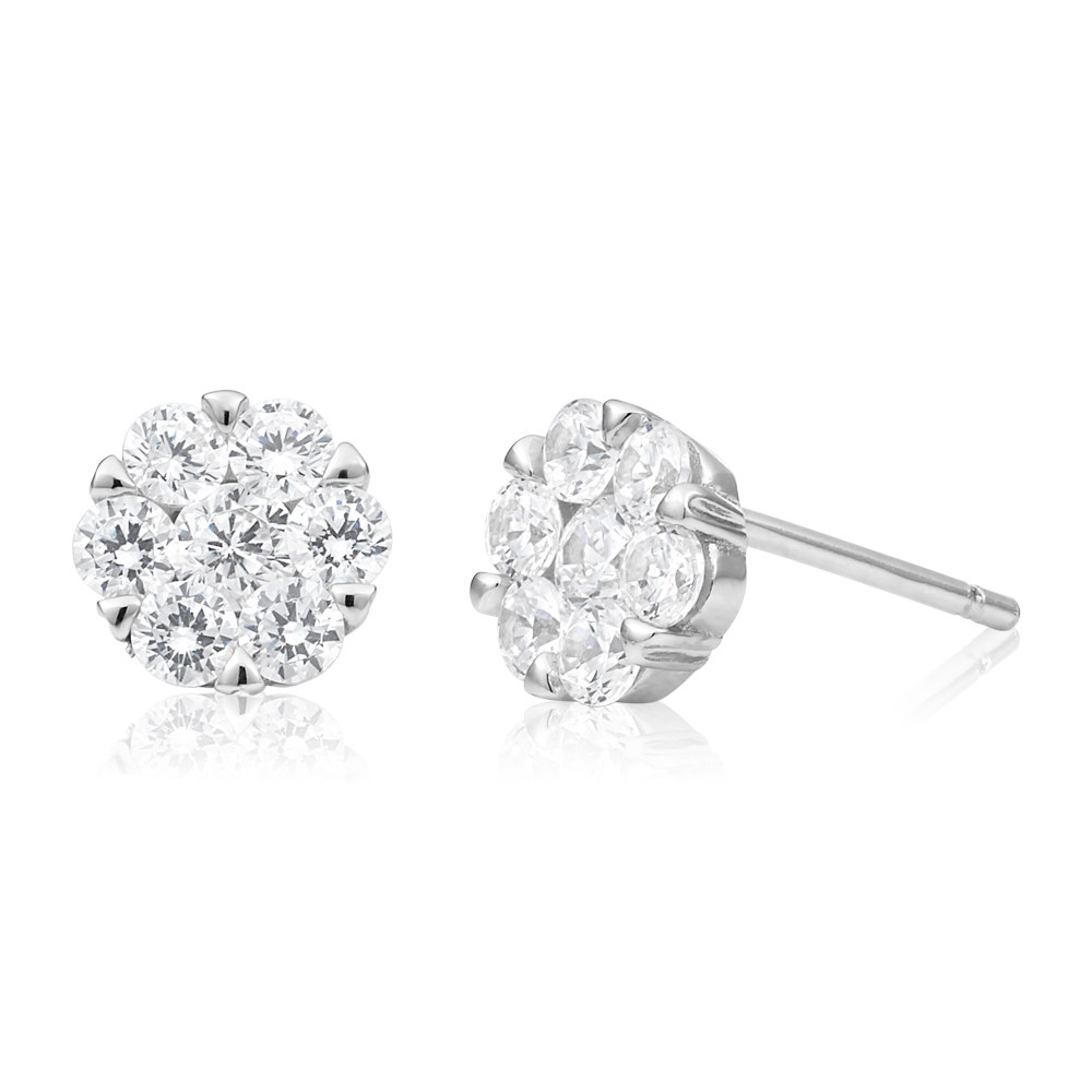 Sterling Silver Rhodium Plated Cubic Zirconia Flower Stud Earrings