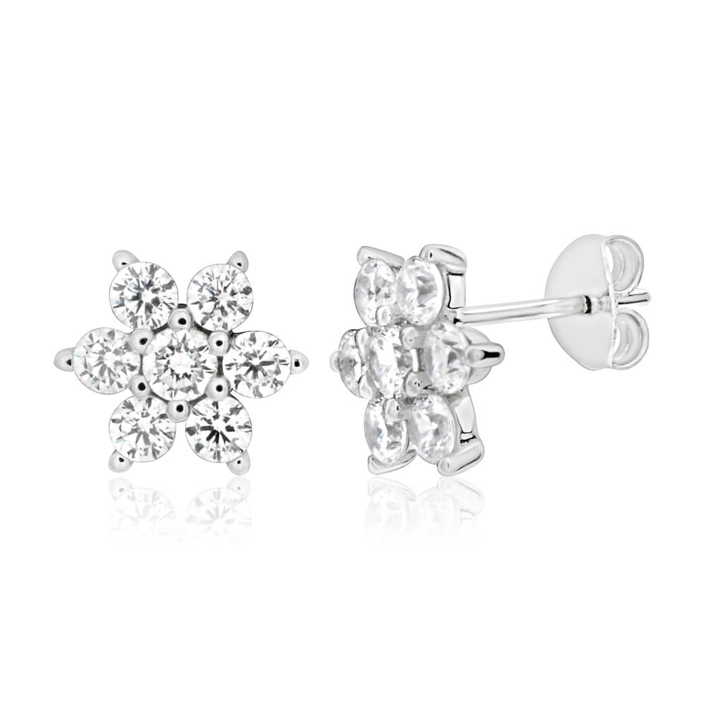 Sterling Silver Rhodium Plated White Cubic Zirconia Flower Stud Earrings