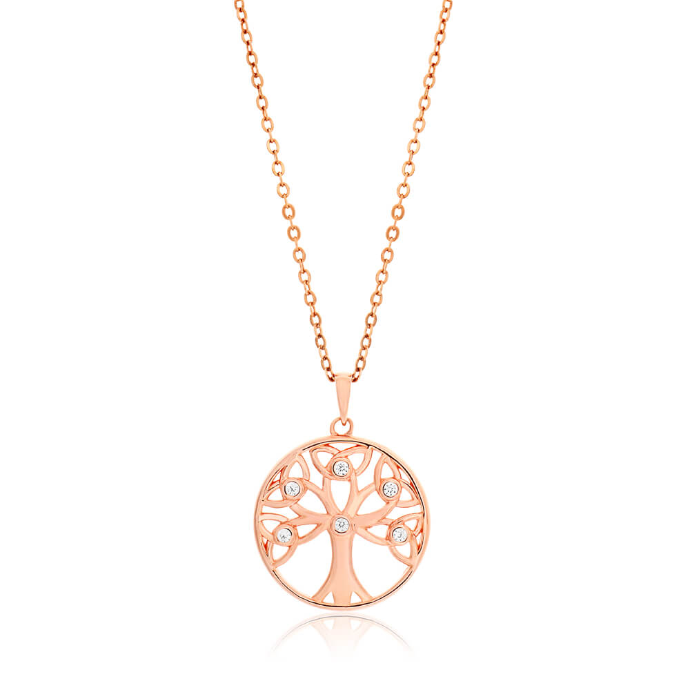 Gold Plated Sterling Silver Cubic Zirconia Tree of Life Pendant